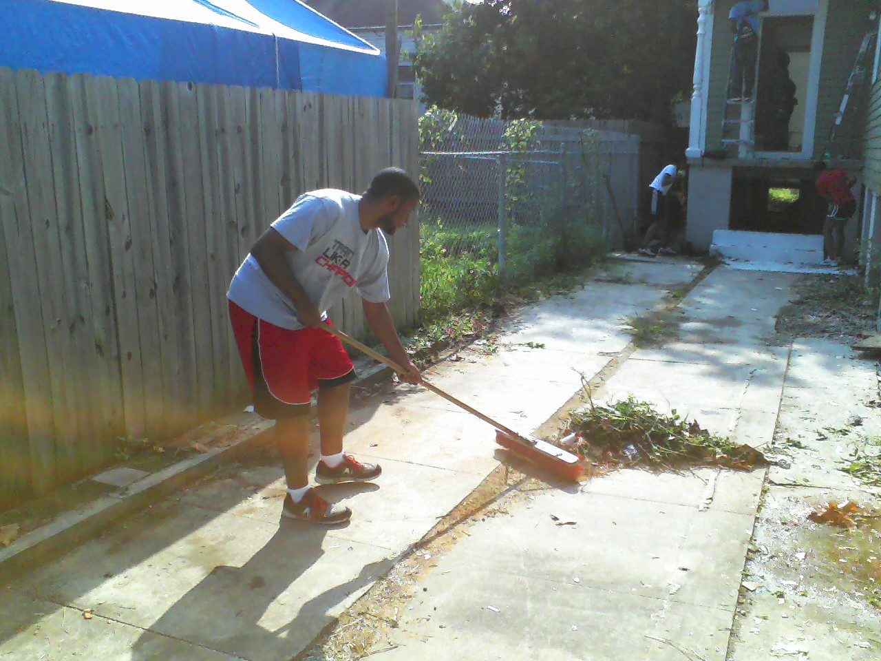 Sweeping his cares away.