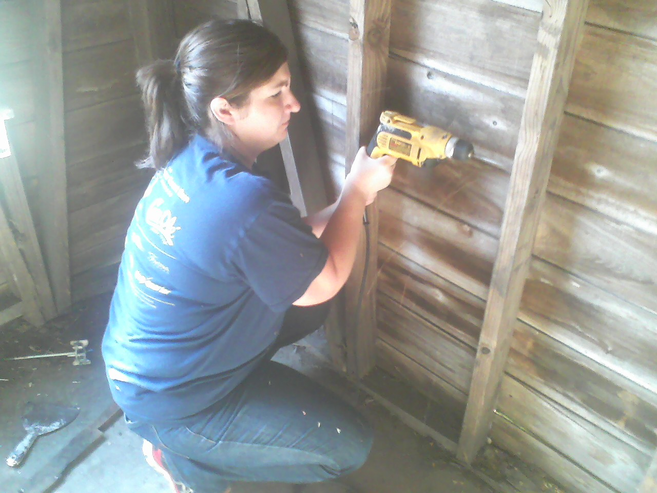 Deanna displays her skill with the drill.