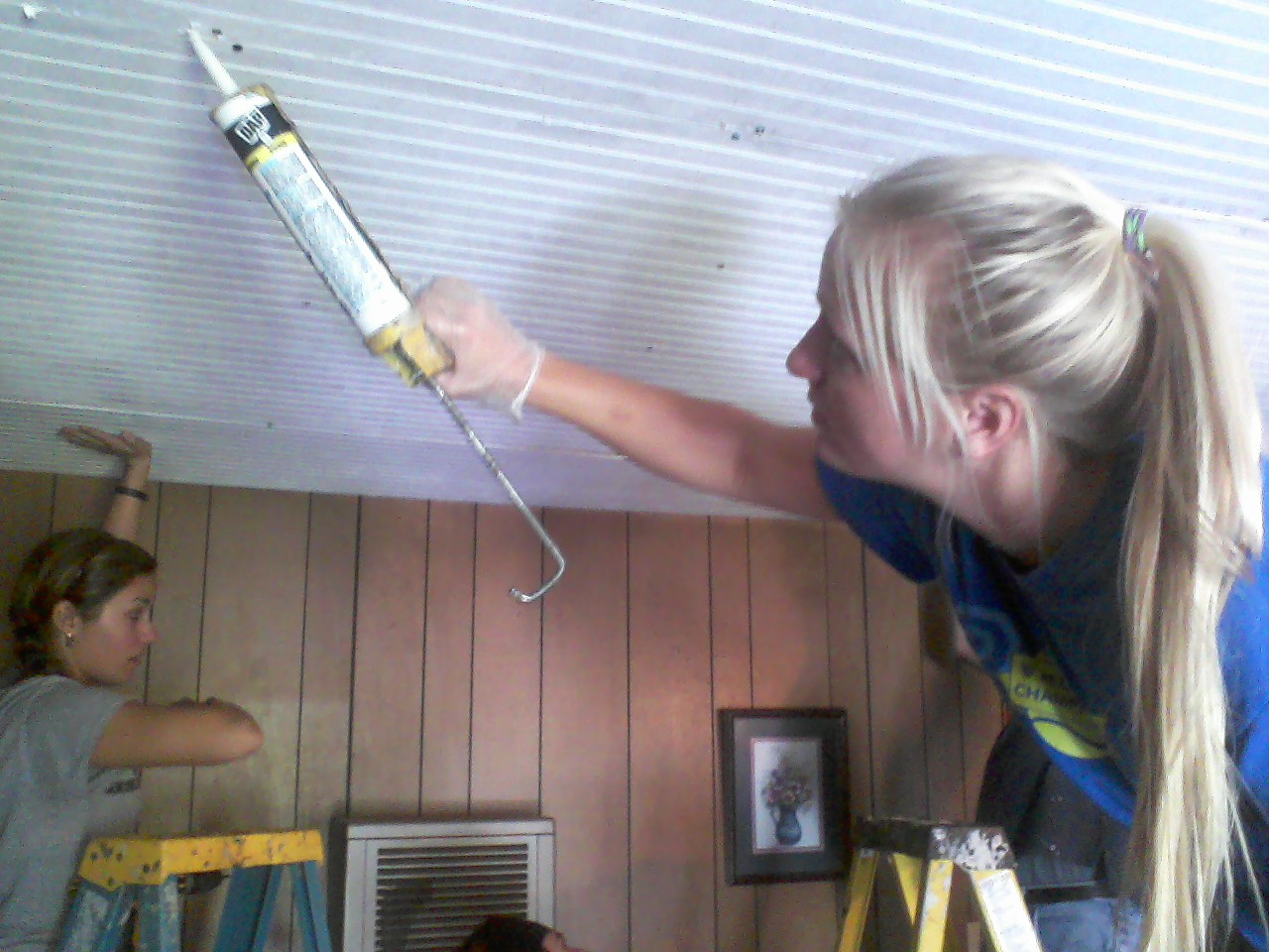 Caroline wields a mean caulk gun.
