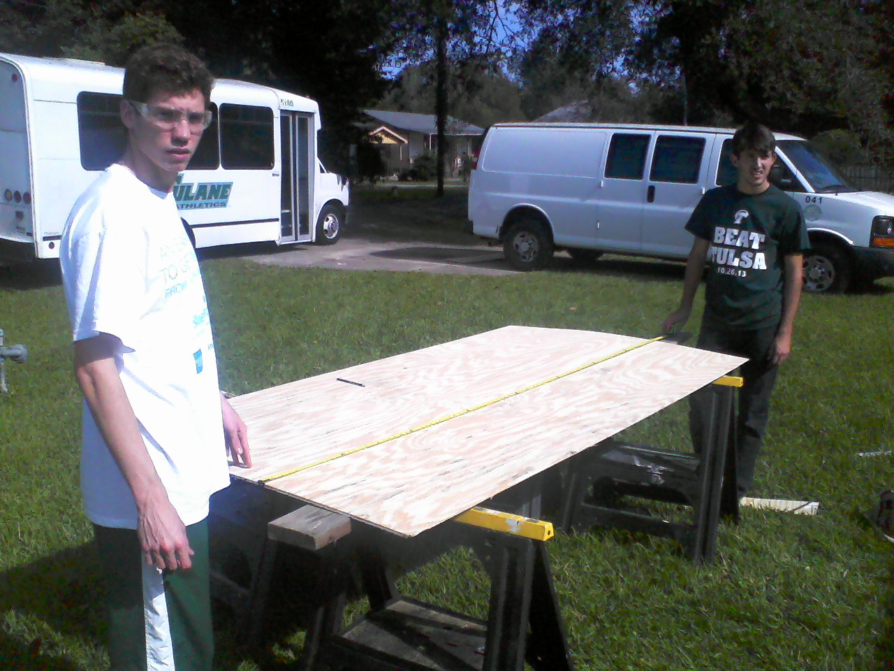 Mark and Jack prep some bead board.