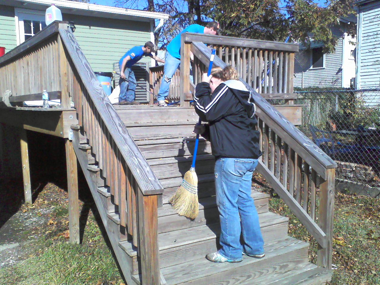 The Coyotes tackled other tasks too, like sweeping the back porch...