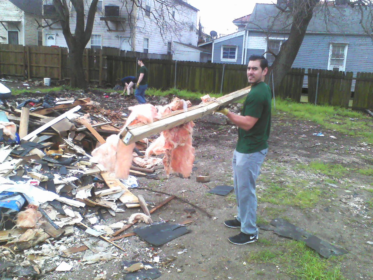 CJ finds some salvageable wood.