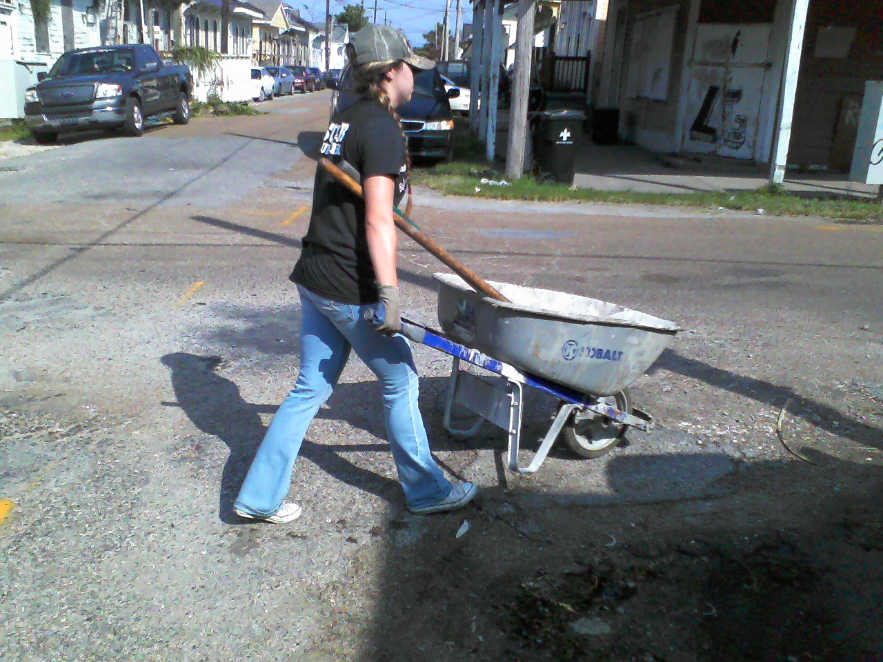 Wheelbarrow duty.