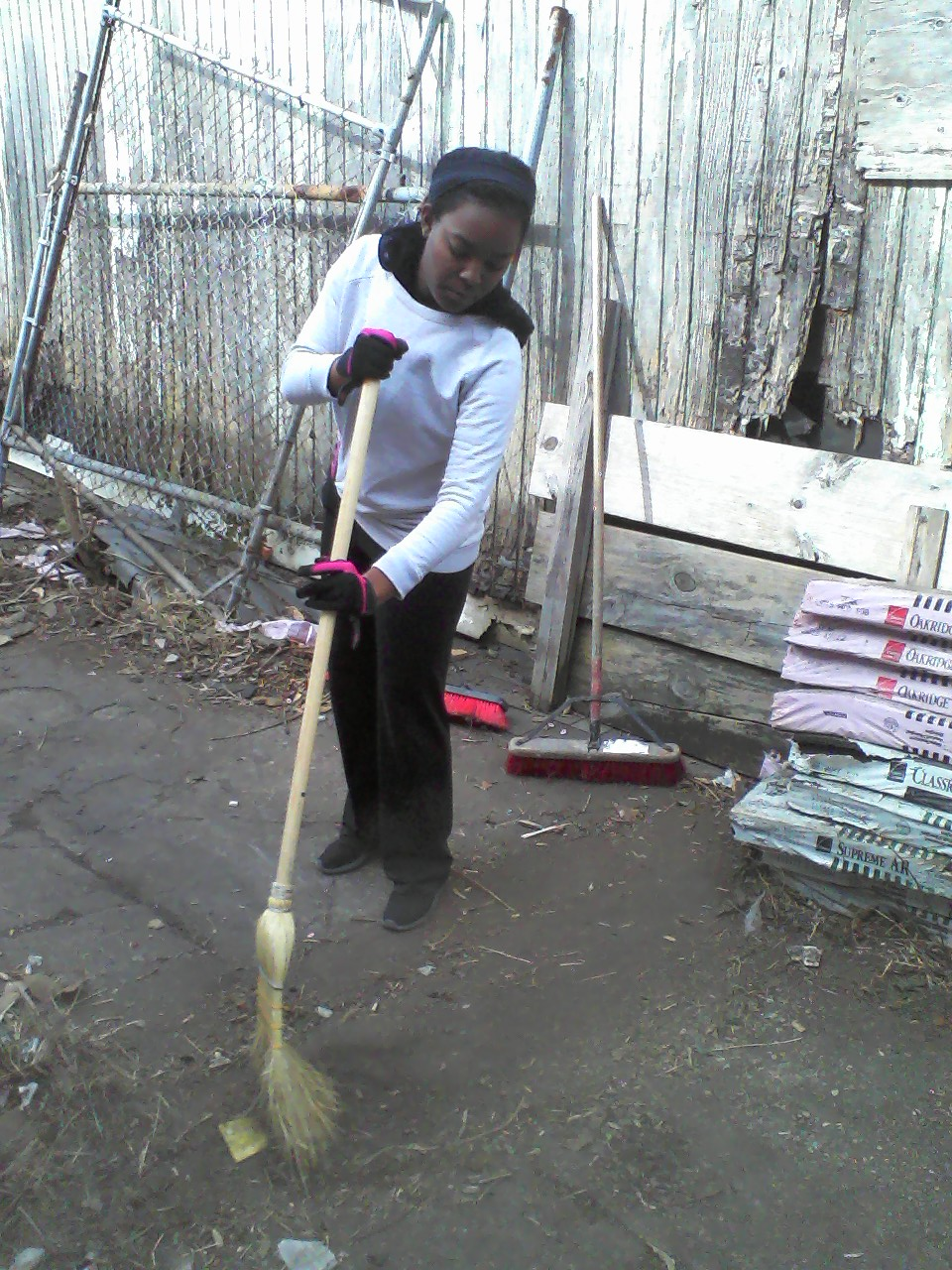 Sweeping her cares away.